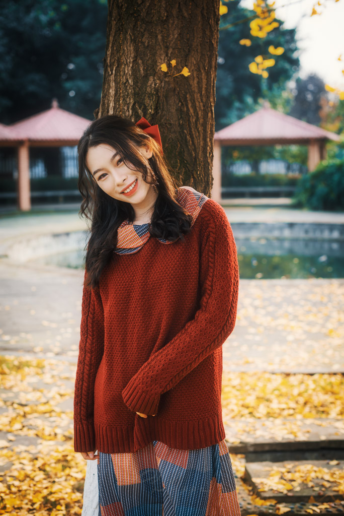Young chinese woman wearing a red knit jumper portrait against gingko tree in autumn in Chengdu, Sichuan province, China