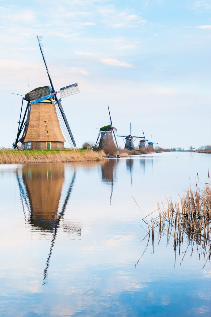Windmills alignment reflecting in the water in Kinderdijk, Netherlands