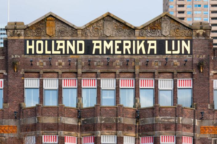 Rotterdam, Netherlands: New York Hotel facade in Rotterdam with the Holland Amerika Lijn inscription in Wilhelminapier district.