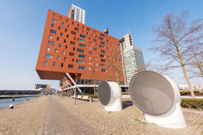 Rotterdam modern architecture in Wilheminapier with blue sky, Netherlands