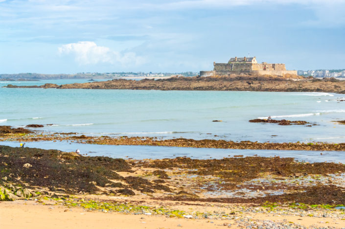 Fort National view from Saint-Malo beach, Brittany, France