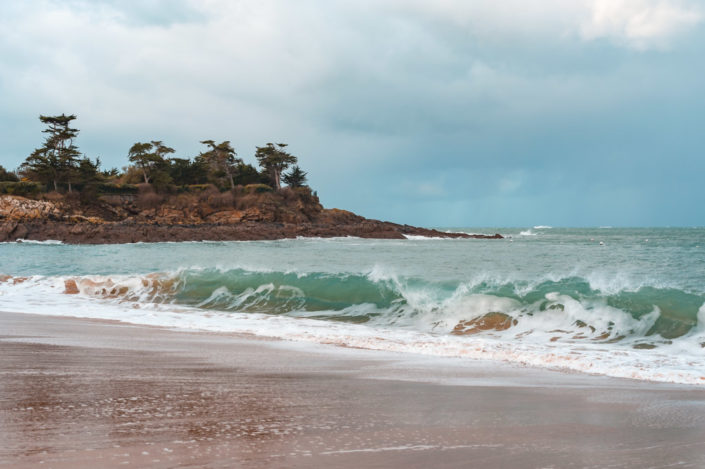 Waves during a storm in Saint-Malo beach, Brittany, France
