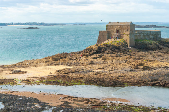 Petit Bé fort aerial view in Saint-Malo, Brittany, France