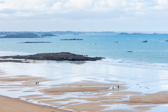 Saint-Malo beach aerial view in winter on a cloudy day, Brittany, France