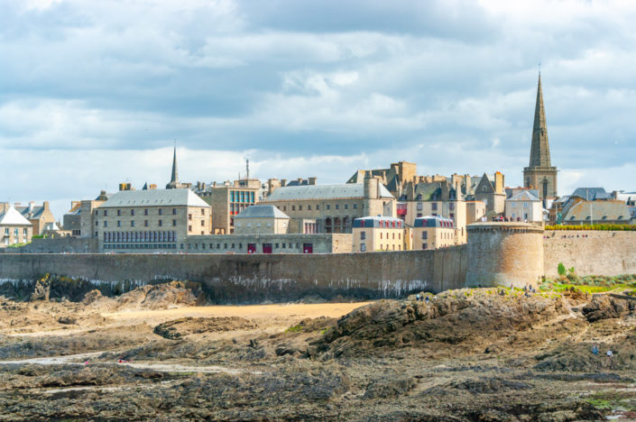 Saint-Malo city with surrounding fortified wall, Brittany, France
