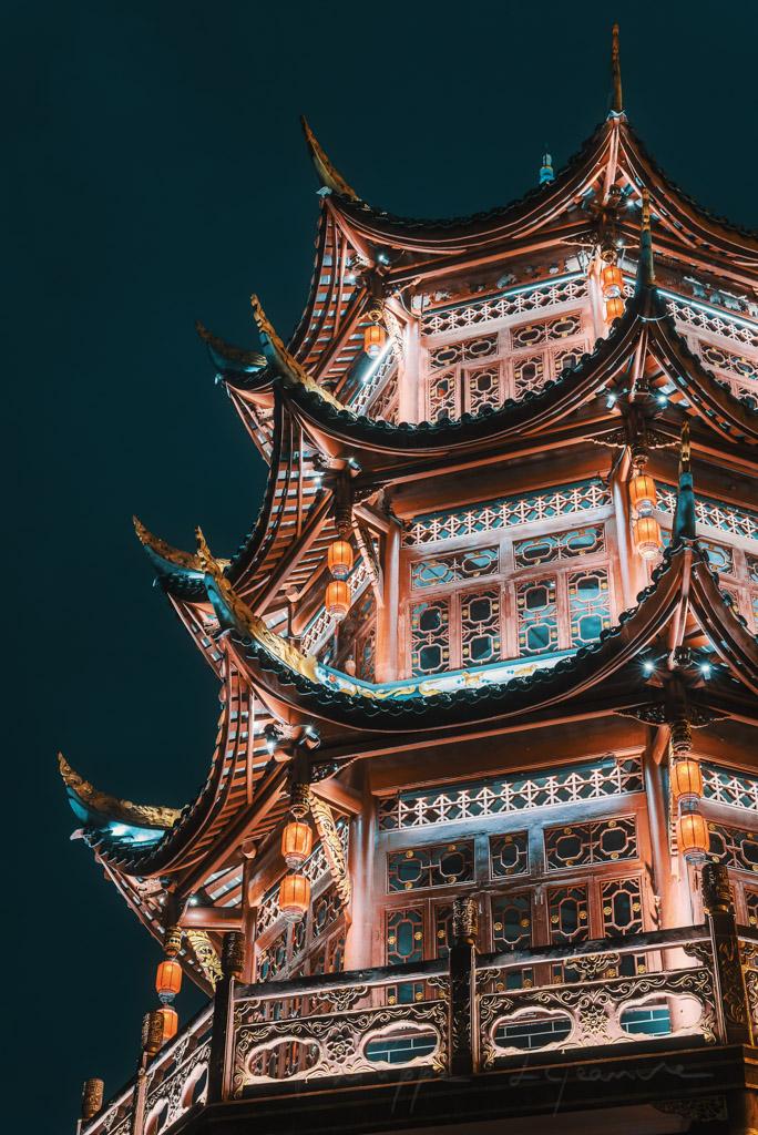 Pagoda illuminated at night in Chengdu, Sichuan province, China