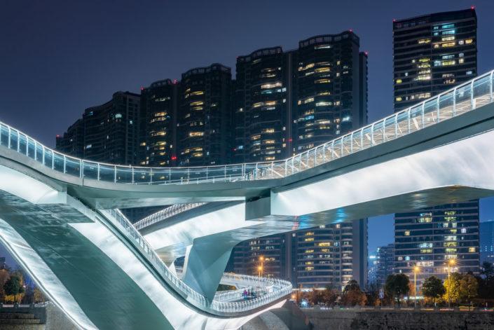 WuChaZi DaQiao modern bridge illuminated at night in Chengdu, Sichuan province, China