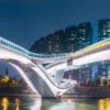 WuChaZi DaQiao modern bridge illuminated at night in Chengdu, Sichuan province, China