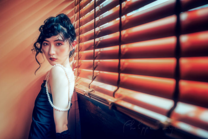 Vintage chinese woman portrait in Chengdu, Sichuan province, China