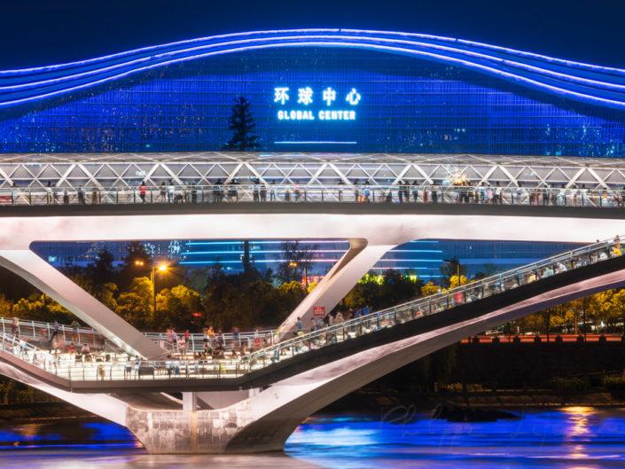 blog – Wuchazi bridge and Global Center illuminated at night in Chengdu