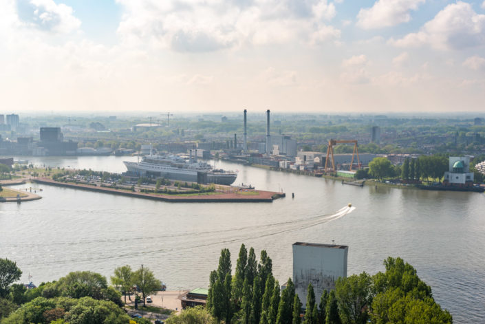 SS Rotterdam cruise ship aerial view, Rotterdam, Netherlands