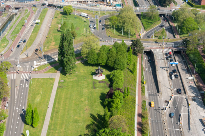 Het Dam Paviljoen chinese pavilion aerial view, Rotterdam, Netherlands