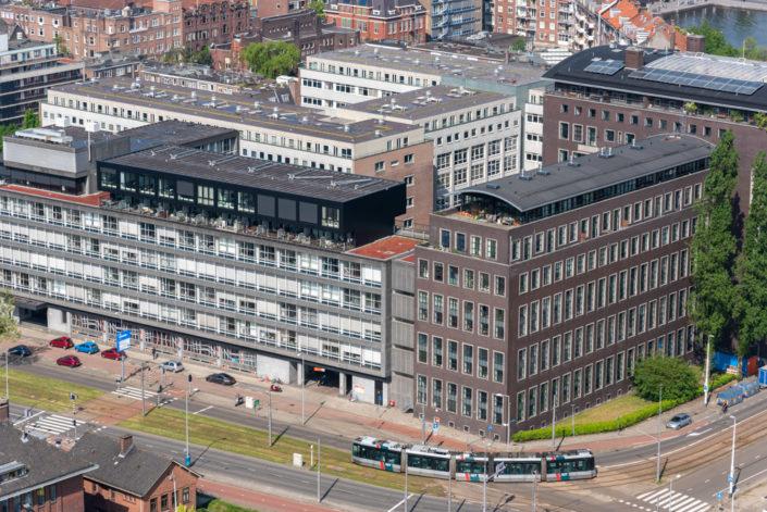 Tramway in Westzeedijk street aerial view, Rotterdam, Netherlands