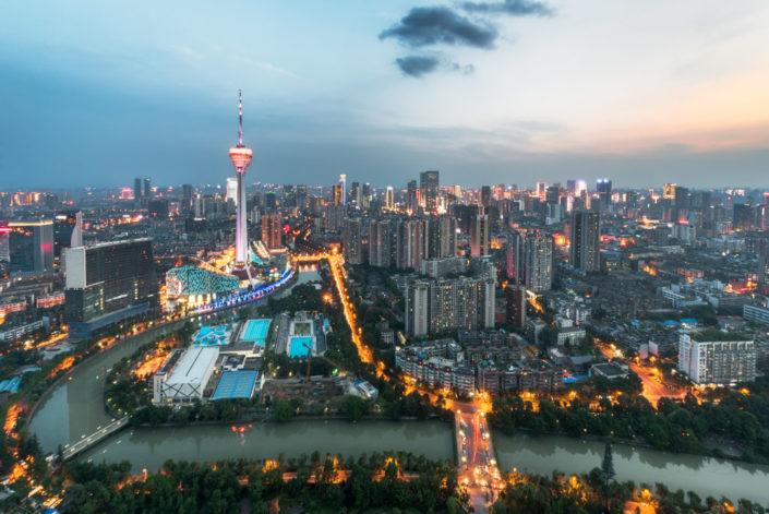 Chengdu West Pearl 339 TV tower aerial view at sunset with the river on the foreground, Sichuan Province, China