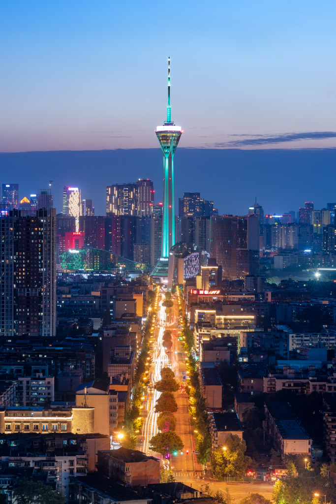 Chengdu skyline with West Pearl 339 TV tower at blue hour, Sichuan province, China