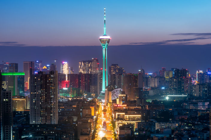Chengdu skyline with West Pearl 339 TV tower at blue hour