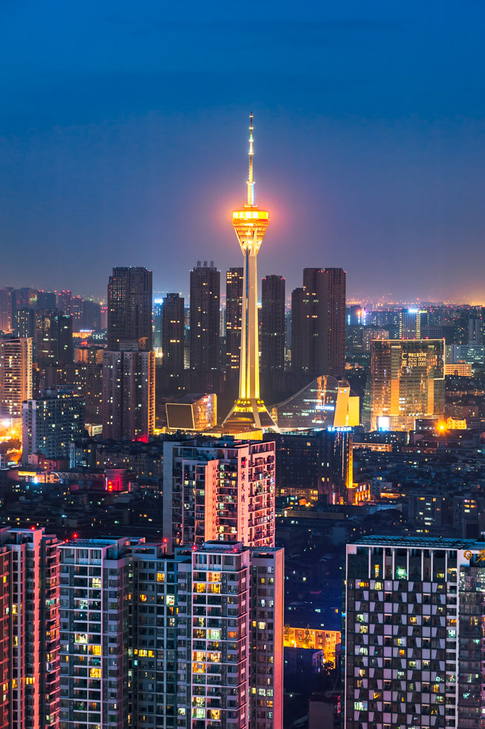 Chengdu city West Pearl 339 TV tower aerial view at night, Sichuan Province, China