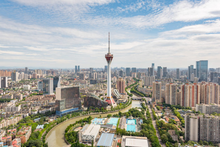 Chengdu skyline aerial view in daylight with West Pearl 339 TV tower, Sichuan province, China