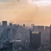 Chengdu backlight skyline panorama aerial view with clouds on the city, Sichuan province, China
