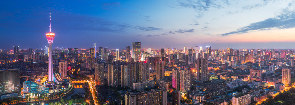Chengdu skyline panorama at blue hour with the West pearl 339 TV tower, Sichuan Province, China