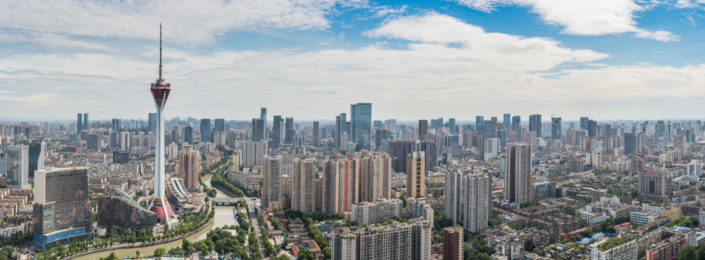Chengdu skyline panorama in daylight with West Pearl 339 TV tower, Sichuan Province, China