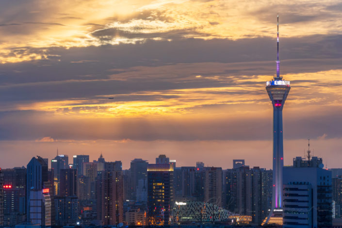 Chengdu skyline with West Pearl 339 TV tower at sunset, Sichuan province, China