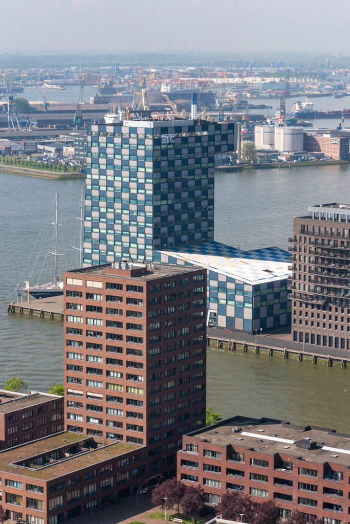 Delfshaven district and new meuse river aerial view, Rotterdam, Netherlands