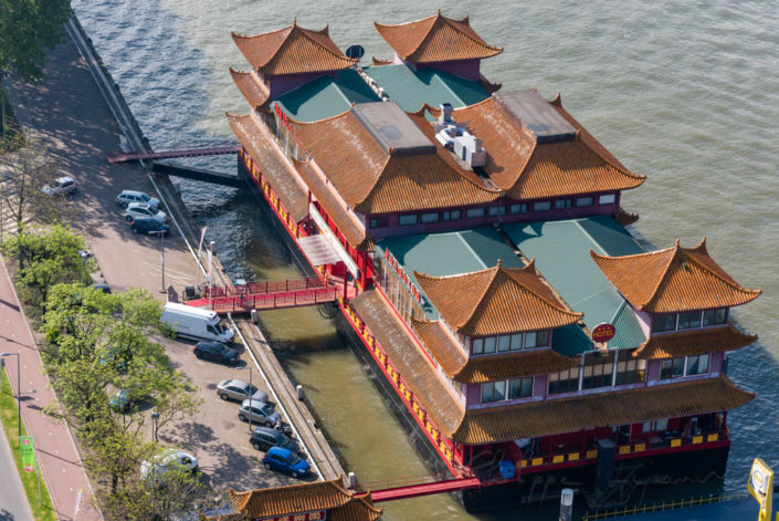 New Ocean Paradise floating Chinese restaurant aerial view, Rotterdam, Netherlands