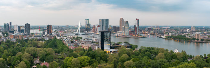 Rotterdam skyline panorama at dusk from the Euromast tower, Netherlands