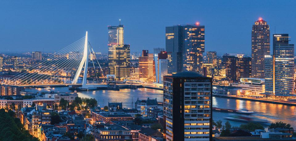 Rotterdam skyline panorama at night from the Euromast tower, Netherlands