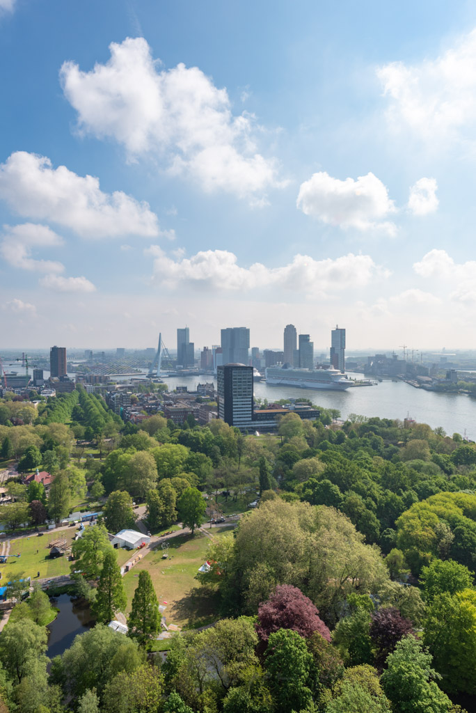 Rotterdam skyline aerial view with Het park in the foreground on a sunny day in the Netherlands