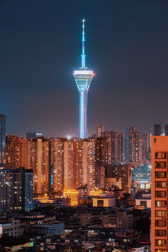 Chengdu West Pearl 339 TV tower at night, Sichuan province, China