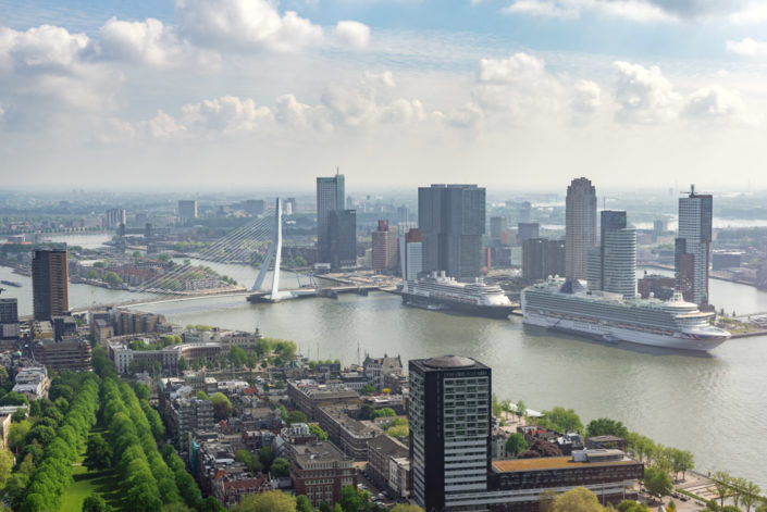 Two cruise ships in Rotterdam port aerial view, Netherlands