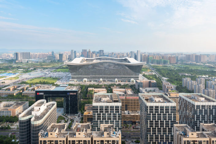 New Century Global Center aerial view and skyline in daylight, Chengdu, Sichuan Province, China