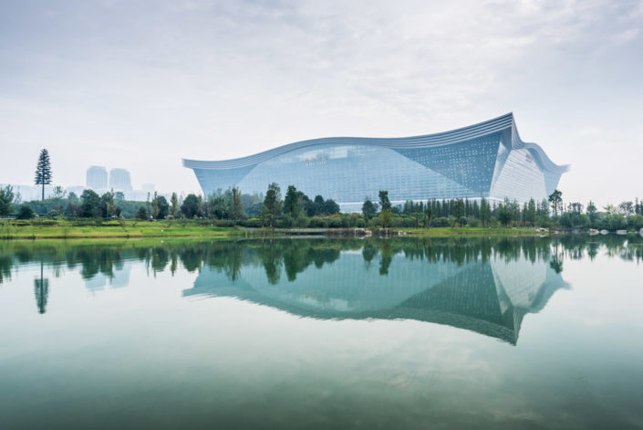 New Century Global Center reflecting in a pond, Chengdu, Sichuan Province, China