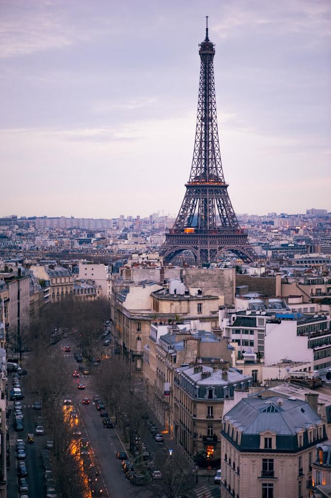 Eiffel tower aerial view at dusk in Paris, France