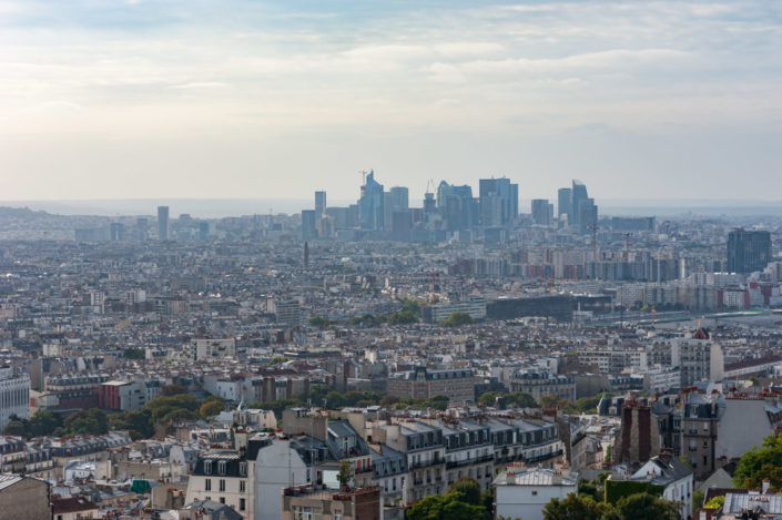 La defense business district in the haze aerial view in Paris, France