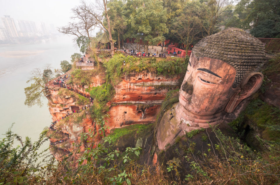 Leshan Giant Buddha high-angle view, Sichuan Province, China