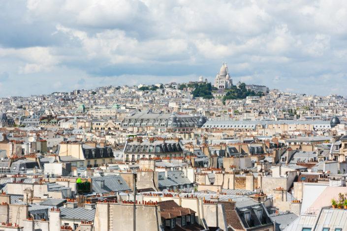 Montmartre - Sacre coeur and paris roof aerial view