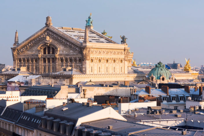 Opera Garnier and Paris roofs from an elevated point of view, Paris, France