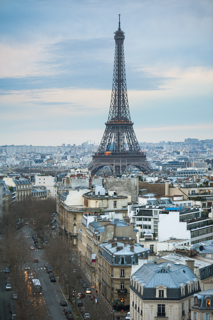 Aerial view of Paris and Eiffel tower at dusk, Paris, France