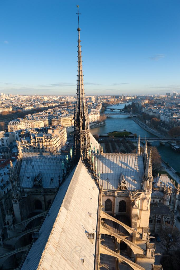 Paris sunset aerial view from the roof of Notre-dame de Paris