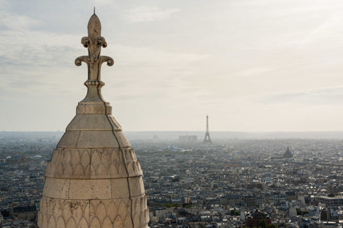 Aerial view of Paris in the haze from the Sacre-Coeur Dome, Paris, France