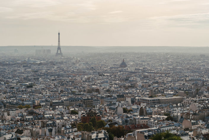 Paris skyline aerial view with haze in the background, France