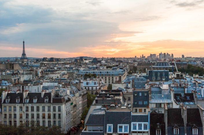 Paris skyline aerial view at sunset, France