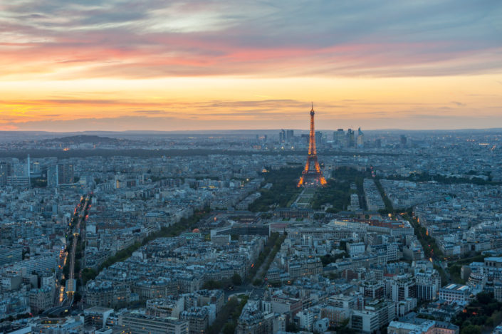 Paris skyline aerial view at sunset with the Eiffel tower, France