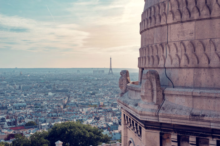 Paris skyline aerial view from the Sacre-Coeur roof with a dome in the foreground, France