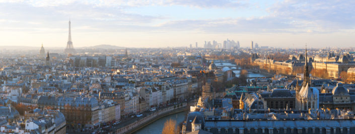 Paris skyline aerial view panorama at sunset with river Seine, France