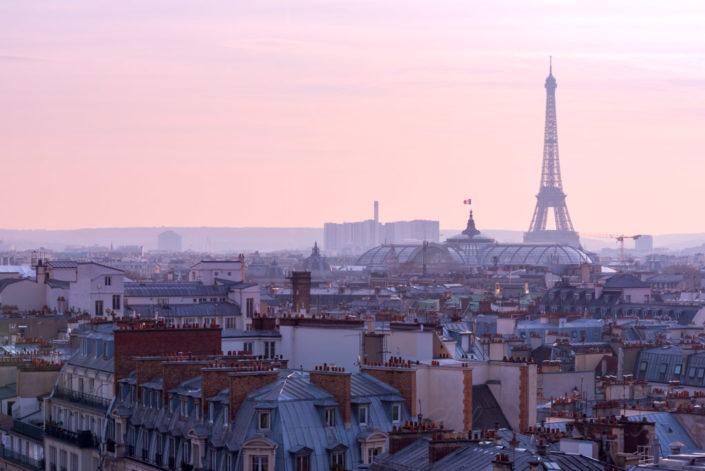 Paris skyline with the Eiffel tower at dusk, France
