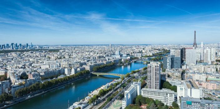 """Paris skyline view from the """"Ballon de Paris"""""""